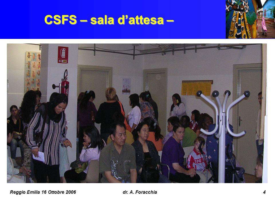 CSFS – sala d'attesa – Reggio Emilia 16 Ottobre 2006 dr. A. Foracchia
