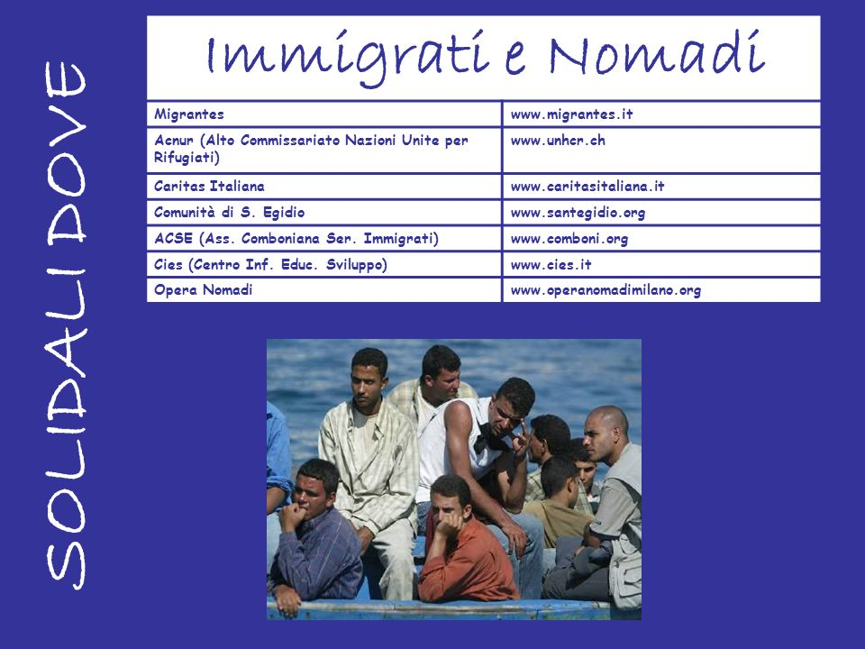 SOLIDALI DOVE Immigrati e Nomadi Migrantes www.migrantes.it
