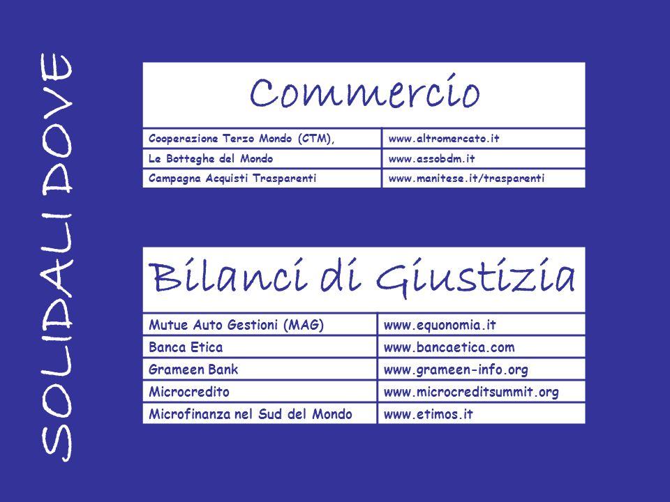 SOLIDALI DOVE Commercio Bilanci di Giustizia Mutue Auto Gestioni (MAG)