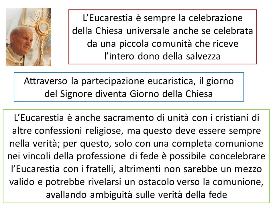 L'Eucarestia è sempre la celebrazione della Chiesa universale anche se celebrata da una piccola comunità che riceve l'intero dono della salvezza