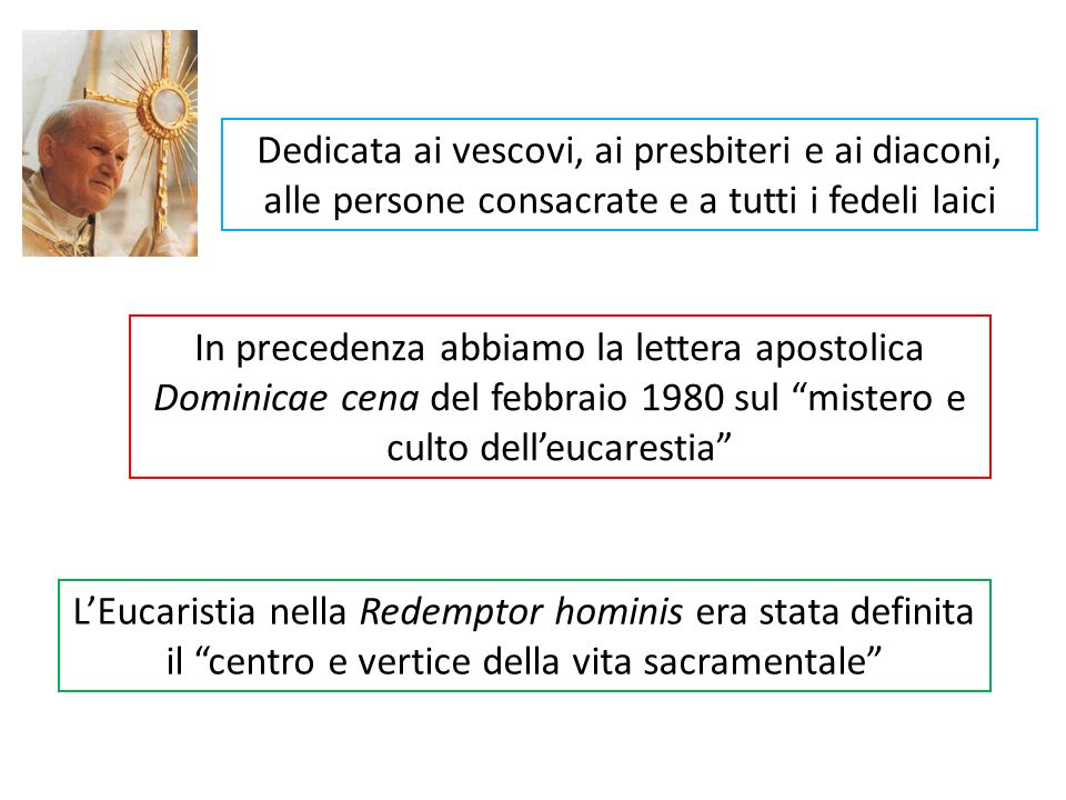 Dedicata ai vescovi, ai presbiteri e ai diaconi, alle persone consacrate e a tutti i fedeli laici