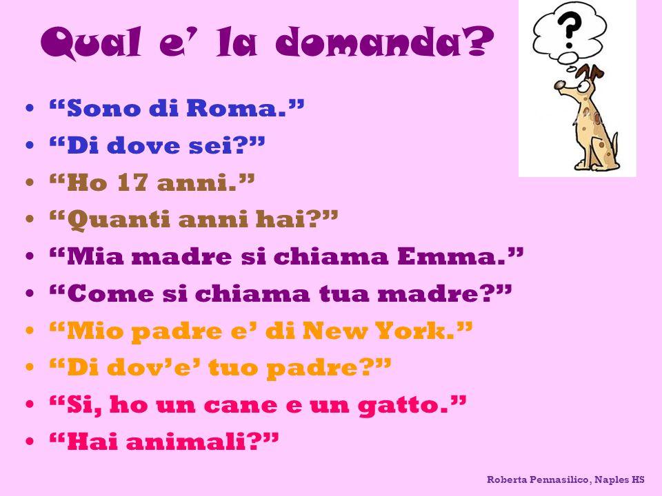 Qual e' la domanda Sono di Roma. Di dove sei Ho 17 anni.