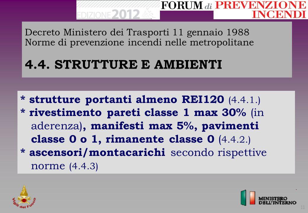 * strutture portanti almeno REI120 (4.4.1.)