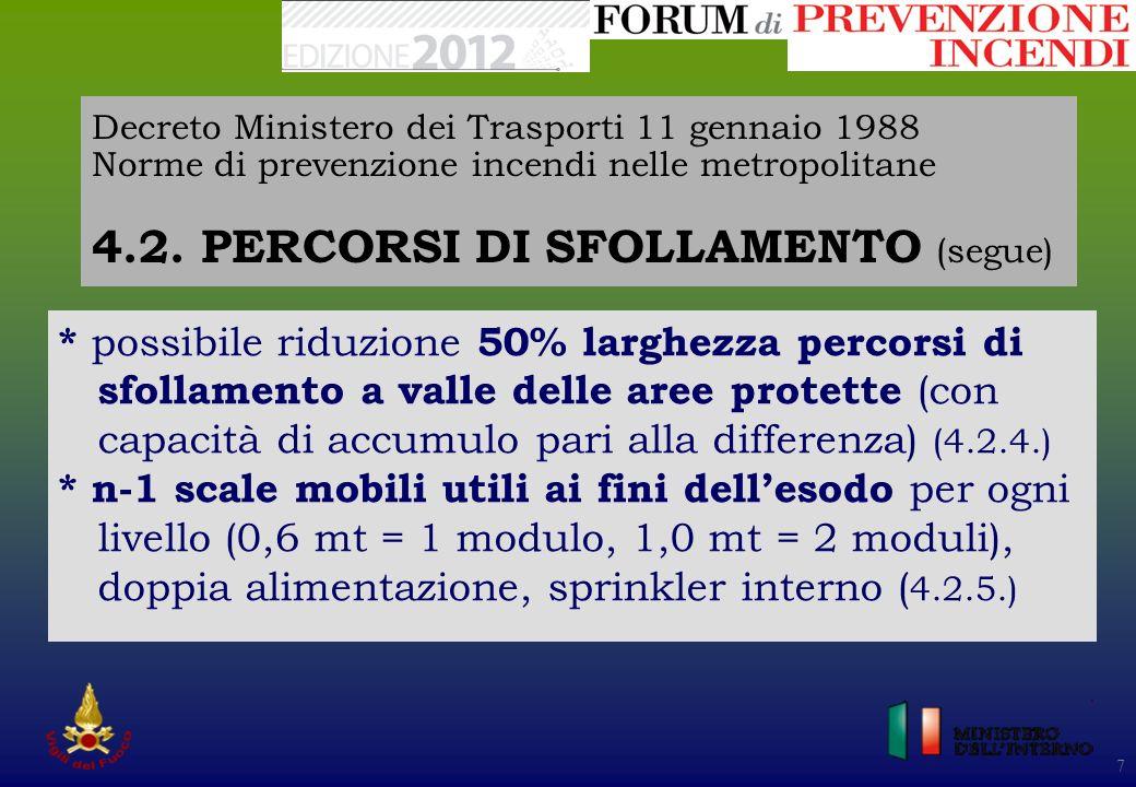 Decreto Ministero dei Trasporti 11 gennaio 1988 Norme di prevenzione incendi nelle metropolitane 4.2. PERCORSI DI SFOLLAMENTO (segue)