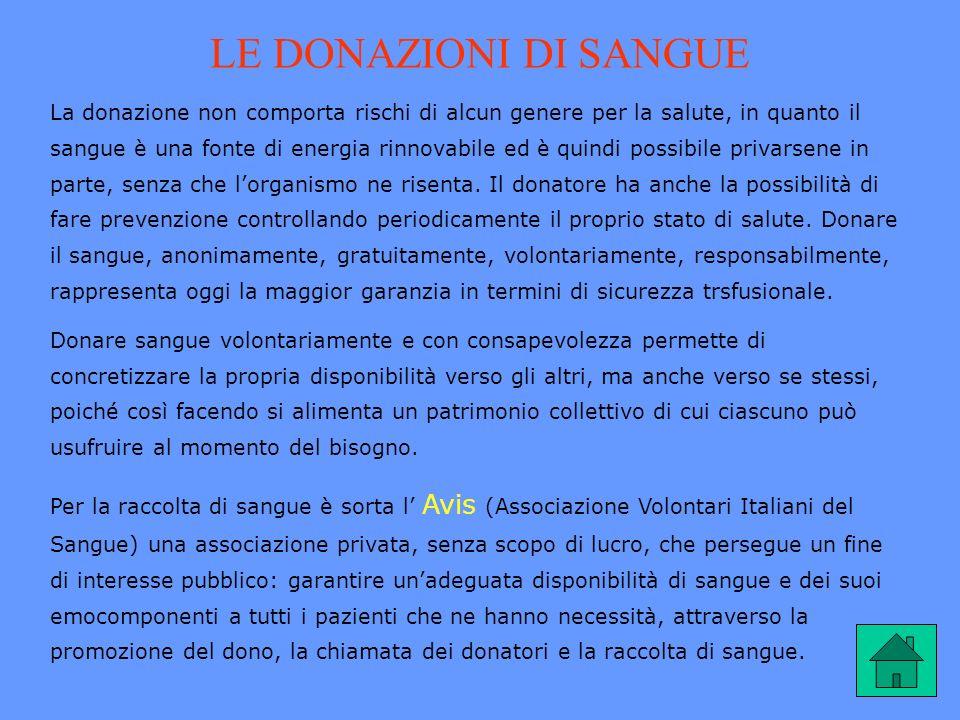 LE DONAZIONI DI SANGUE