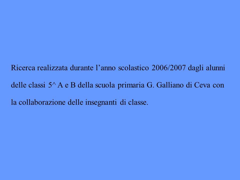 Ricerca realizzata durante l'anno scolastico 2006/2007 dagli alunni delle classi 5^ A e B della scuola primaria G.