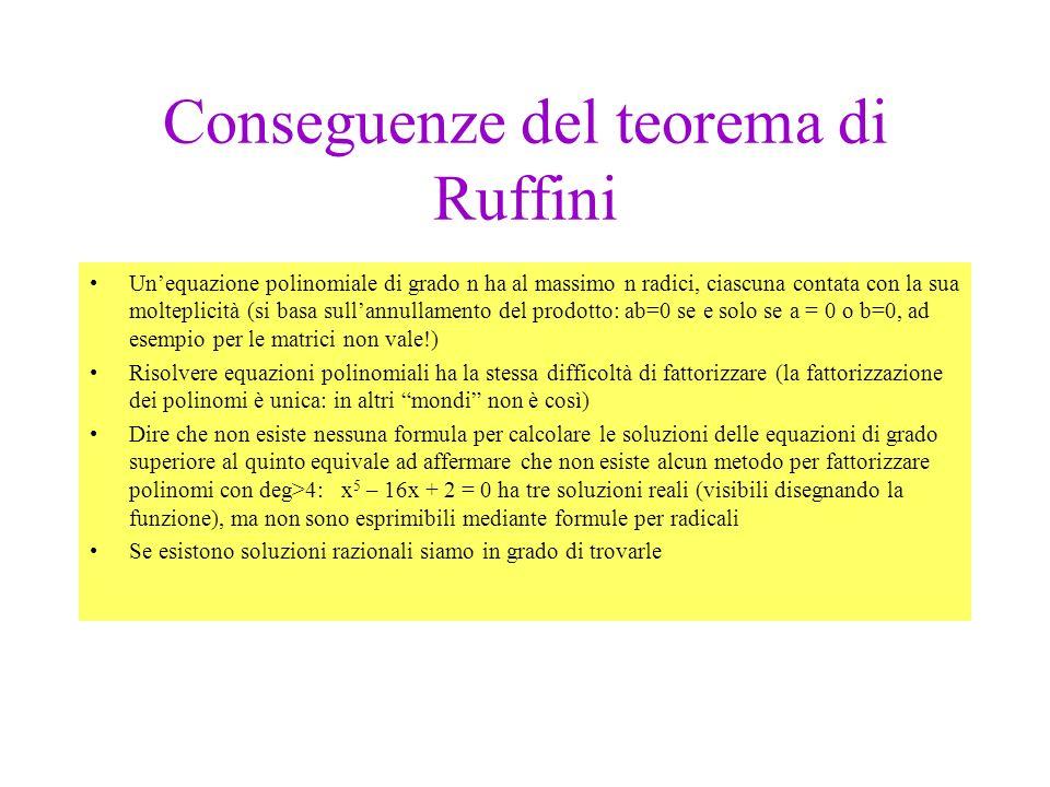 Conseguenze del teorema di Ruffini