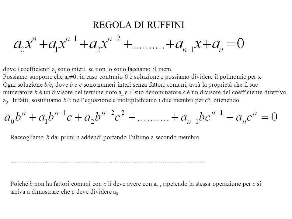 REGOLA DI RUFFINI dove i coefficienti ai sono interi, se non lo sono facciamo il mcm.