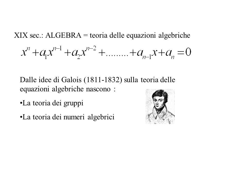 XIX sec.: ALGEBRA = teoria delle equazioni algebriche