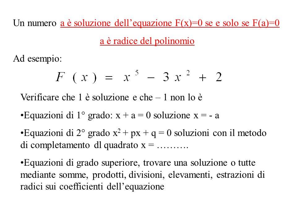 a è radice del polinomio