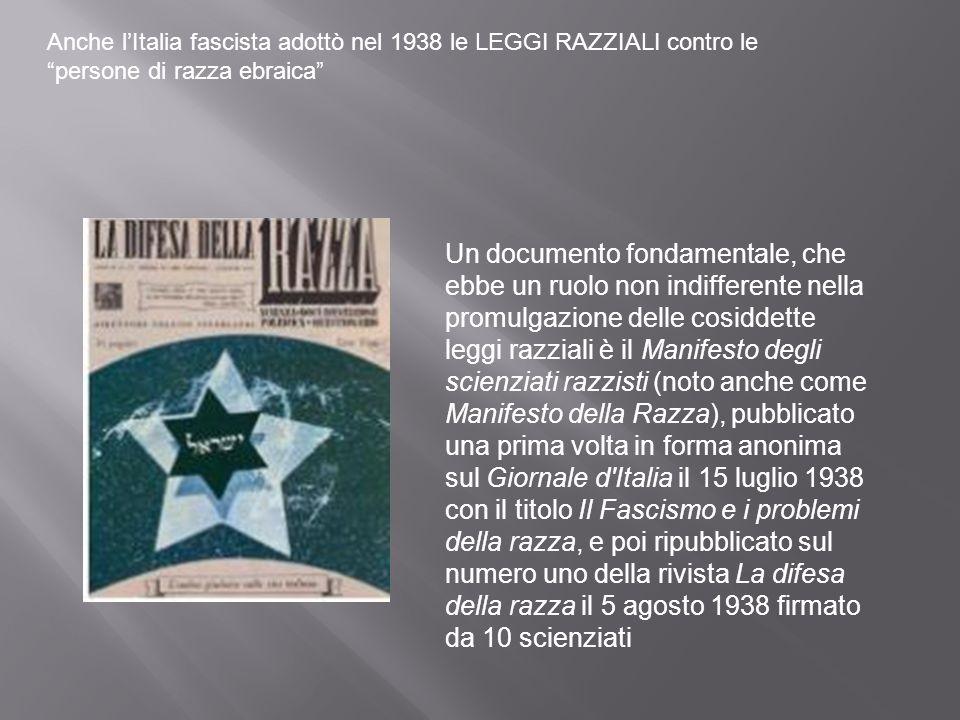 Anche l'Italia fascista adottò nel 1938 le LEGGI RAZZIALI contro le persone di razza ebraica