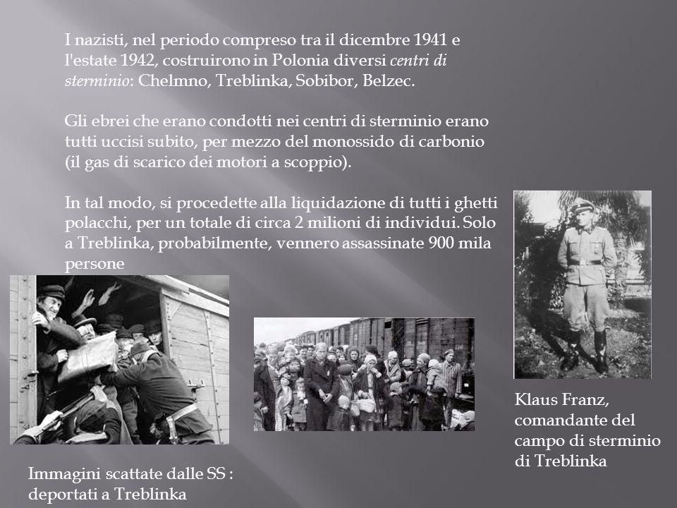 I nazisti, nel periodo compreso tra il dicembre 1941 e l estate 1942, costruirono in Polonia diversi centri di sterminio: Chelmno, Treblinka, Sobibor, Belzec.