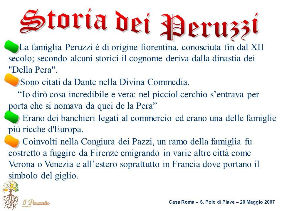 Storia dei Peruzzi . . . . Sono citati da Dante nella Divina Commedia.