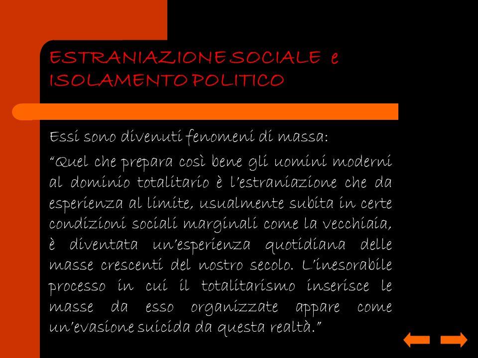 ESTRANIAZIONE SOCIALE e ISOLAMENTO POLITICO