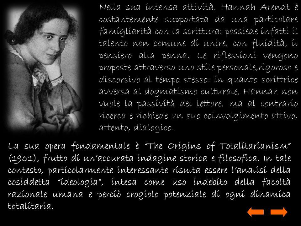 Nella sua intensa attività, Hannah Arendt è costantemente supportata da una particolare famigliarità con la scrittura: possiede infatti il talento non comune di unire, con fluidità, il pensiero alla penna. Le riflessioni vengono proposte attraverso uno stile personale,rigoroso e discorsivo al tempo stesso: in quanto scrittrice avversa al dogmatismo culturale, Hannah non vuole la passività del lettore, ma al contrario ricerca e richiede un suo coinvolgimento attivo, attento, dialogico.