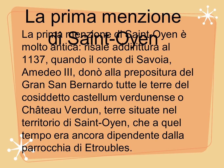 La prima menzione di Saint-Oyen