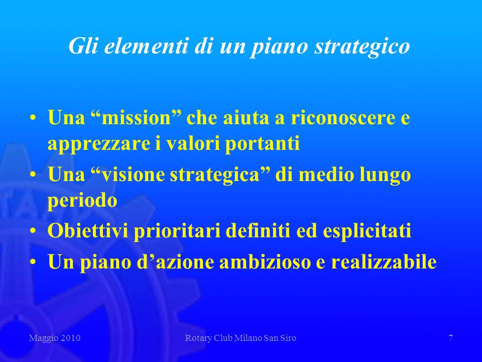 Gli elementi di un piano strategico