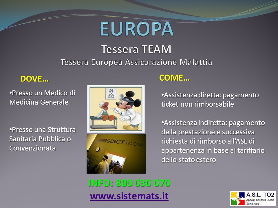 EUROPA Tessera TEAM Tessera Europea Assicurazione Malattia