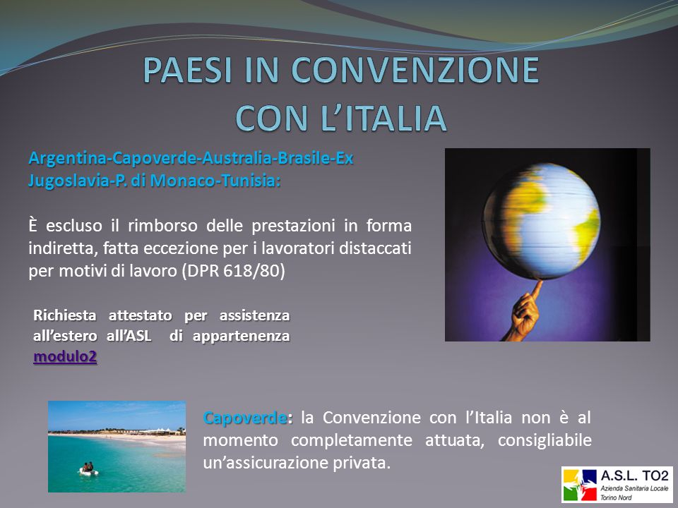 PAESI IN CONVENZIONE CON L'ITALIA