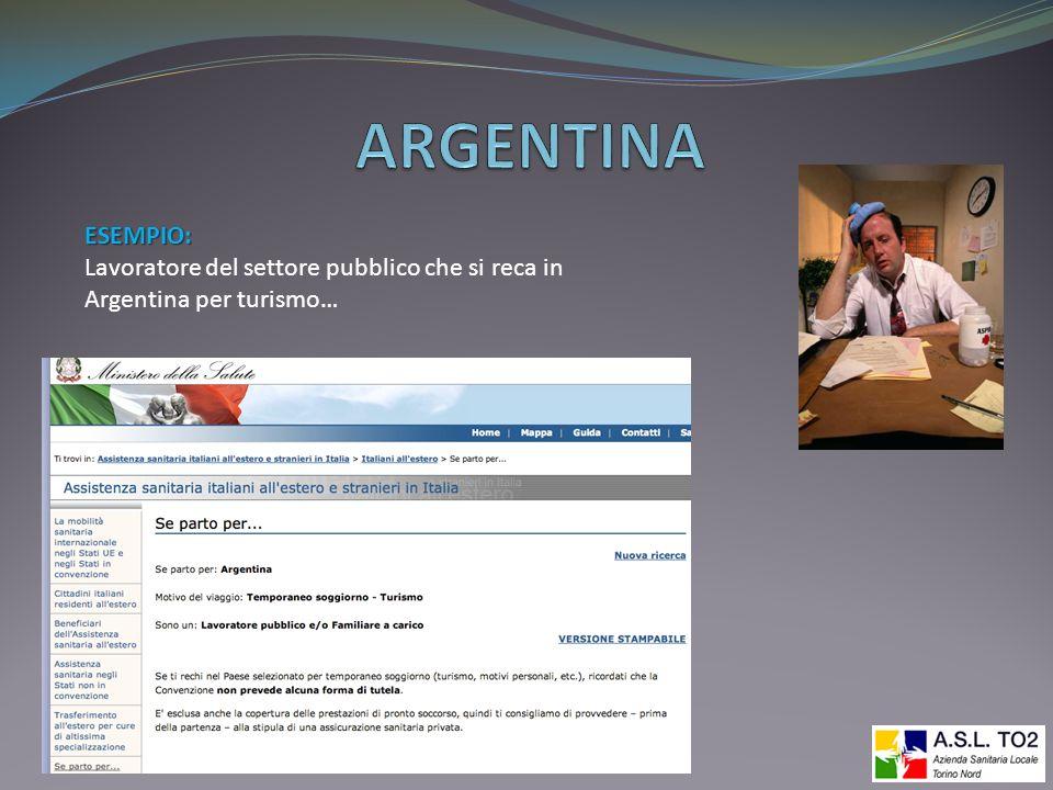 ARGENTINA ESEMPIO: Lavoratore del settore pubblico che si reca in Argentina per turismo…