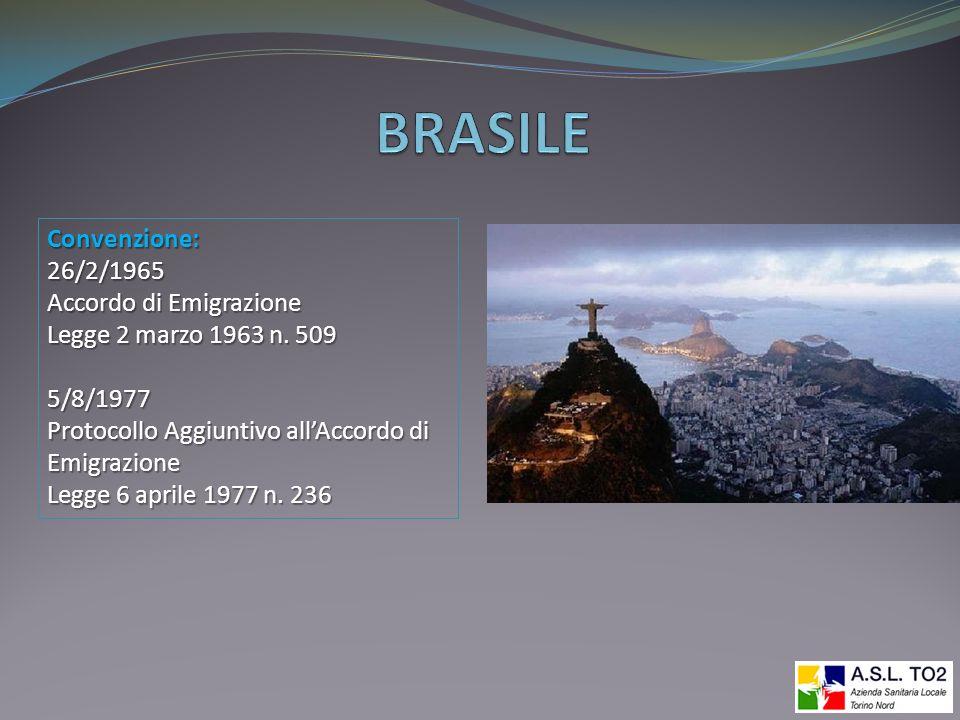 BRASILE Convenzione: 26/2/1965 Accordo di Emigrazione