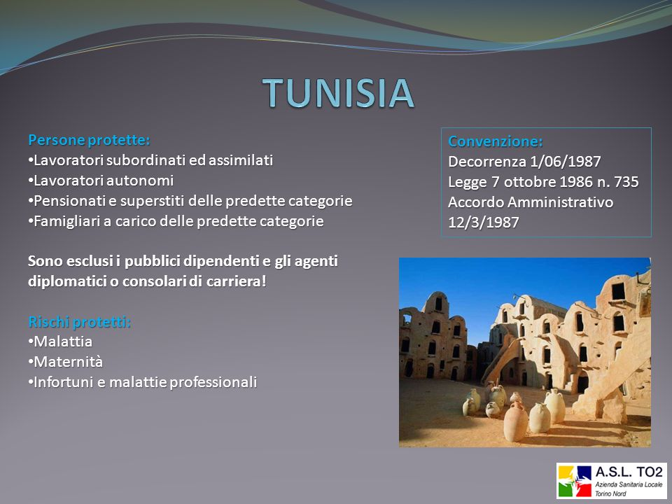 TUNISIA Persone protette: Convenzione: