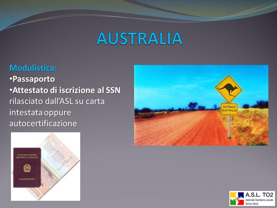 AUSTRALIA Modulistica: Passaporto