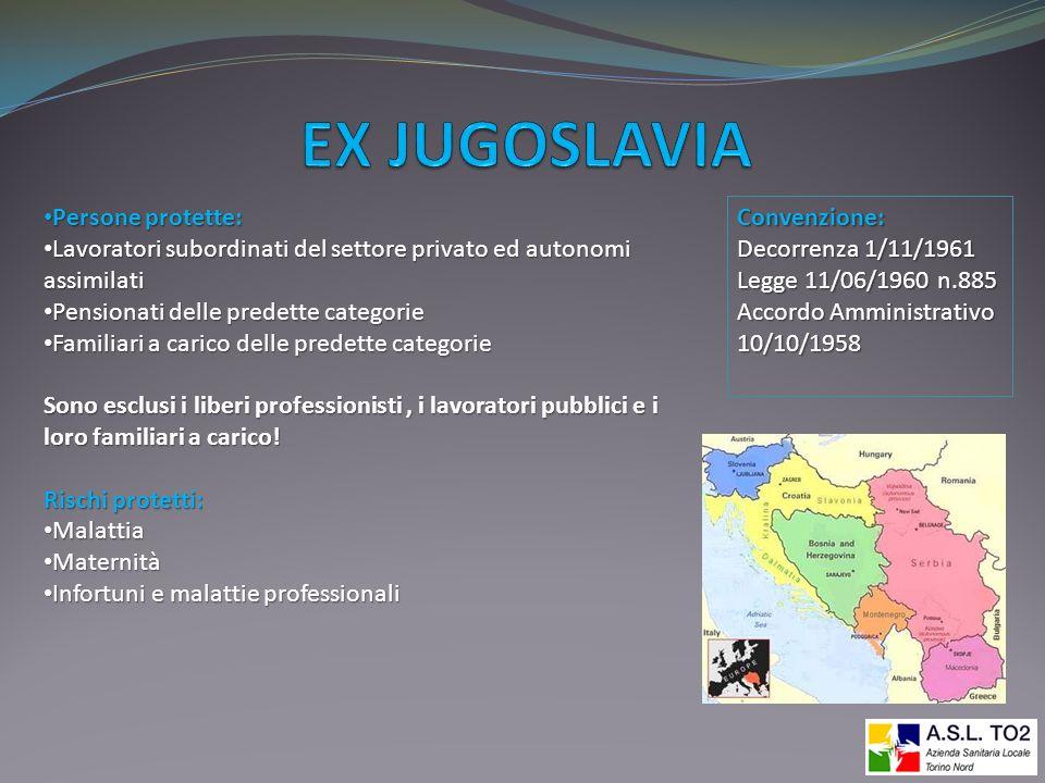 EX JUGOSLAVIA Persone protette: