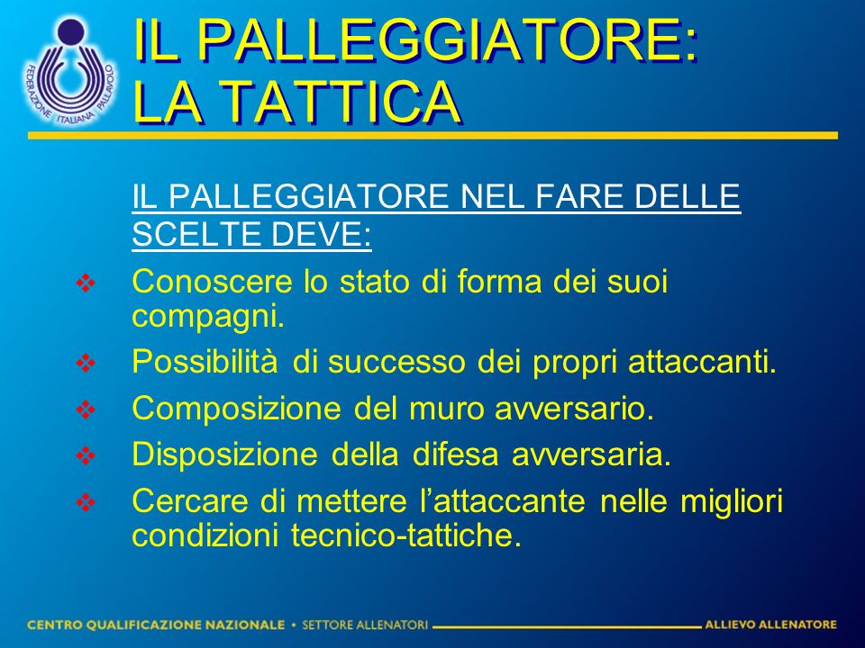 IL PALLEGGIATORE: LA TATTICA