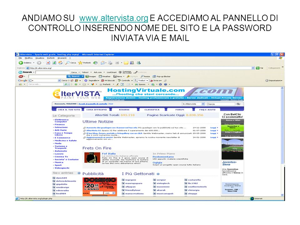 ANDIAMO SU www. altervista