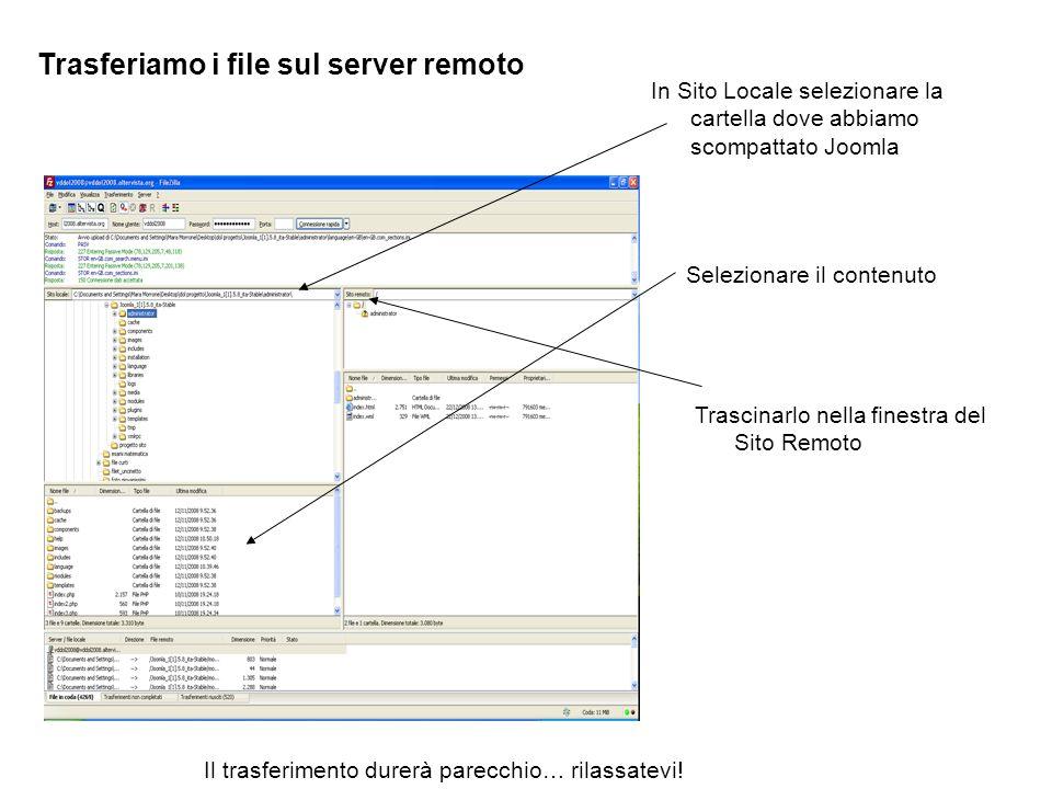 Trasferiamo i file sul server remoto