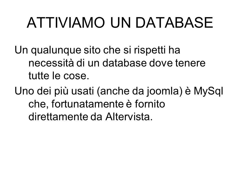 ATTIVIAMO UN DATABASE Un qualunque sito che si rispetti ha necessità di un database dove tenere tutte le cose.