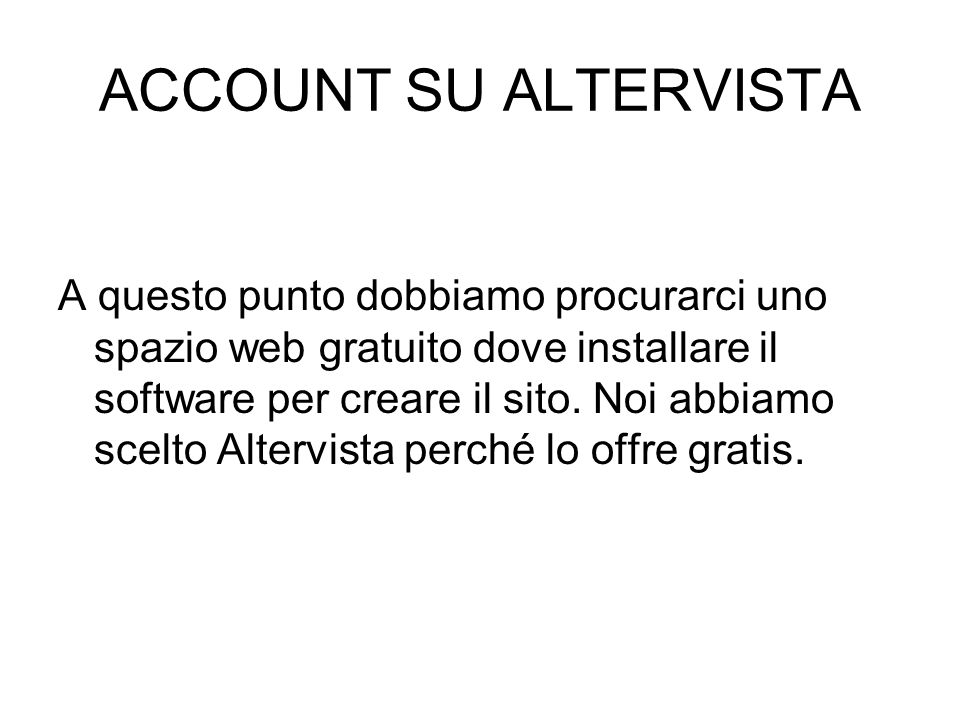ACCOUNT SU ALTERVISTA