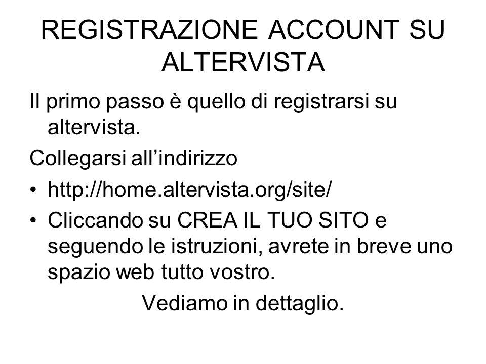 REGISTRAZIONE ACCOUNT SU ALTERVISTA