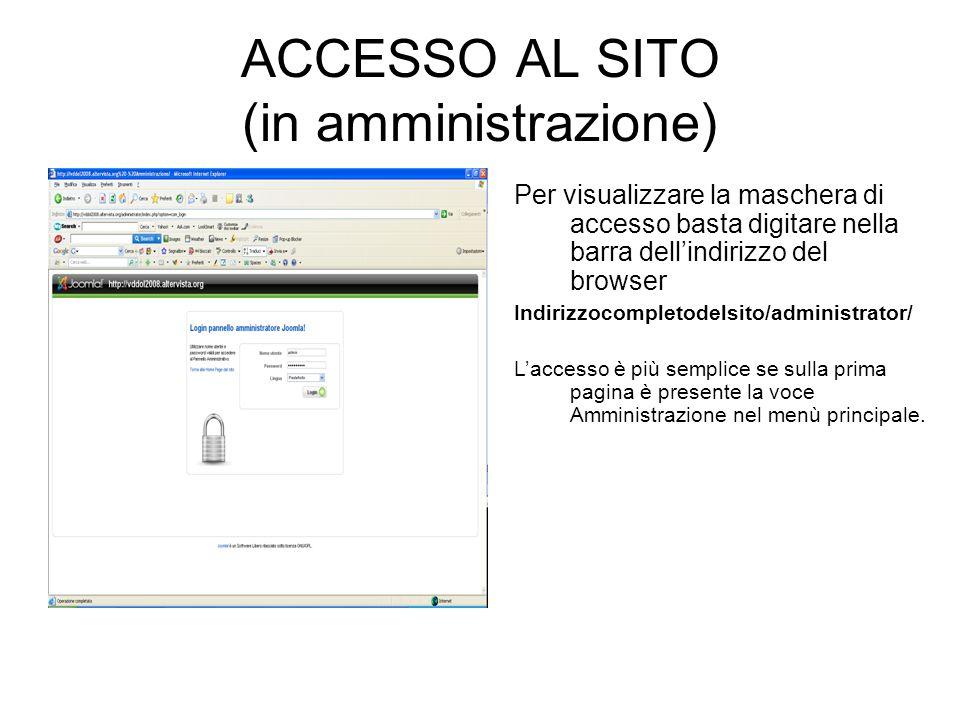 ACCESSO AL SITO (in amministrazione)