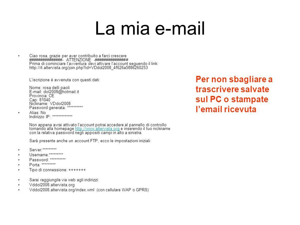 La mia e-mail