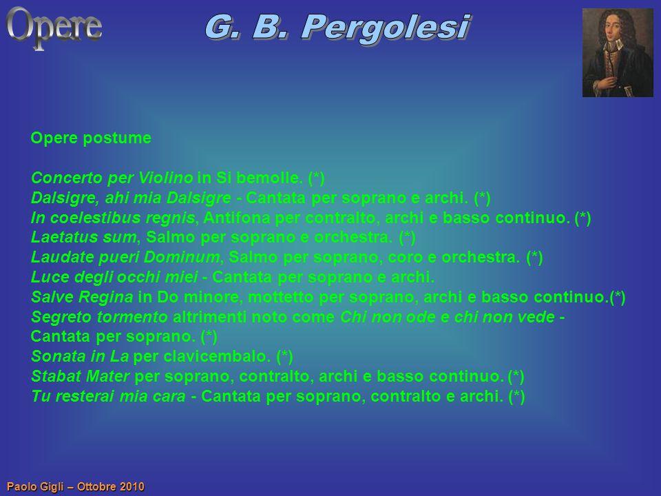 Opere G. B. Pergolesi Opere postume