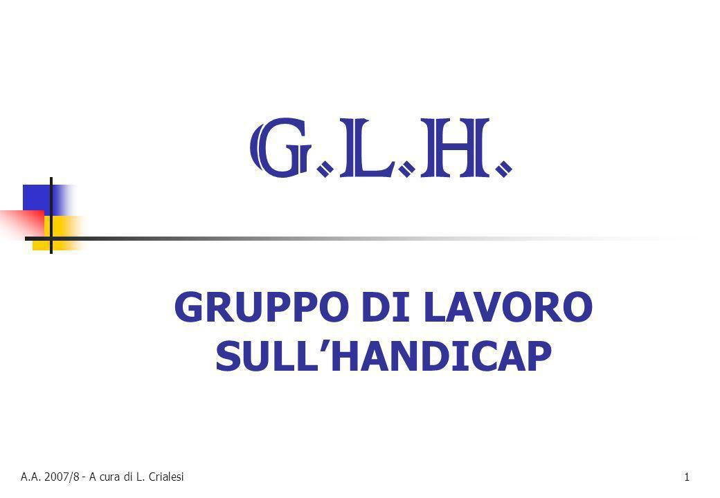 G.L.H. GRUPPO DI LAVORO SULL'HANDICAP GRUPPO DI LAVORO SULL'HANDICAP