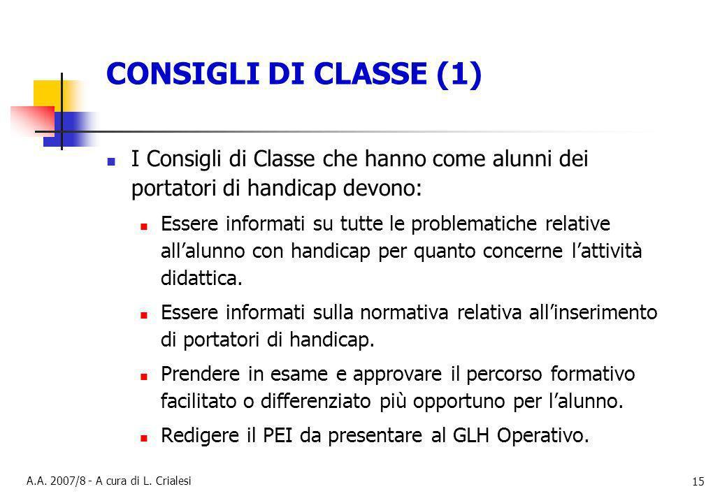 CONSIGLI DI CLASSE (1) I Consigli di Classe che hanno come alunni dei portatori di handicap devono:
