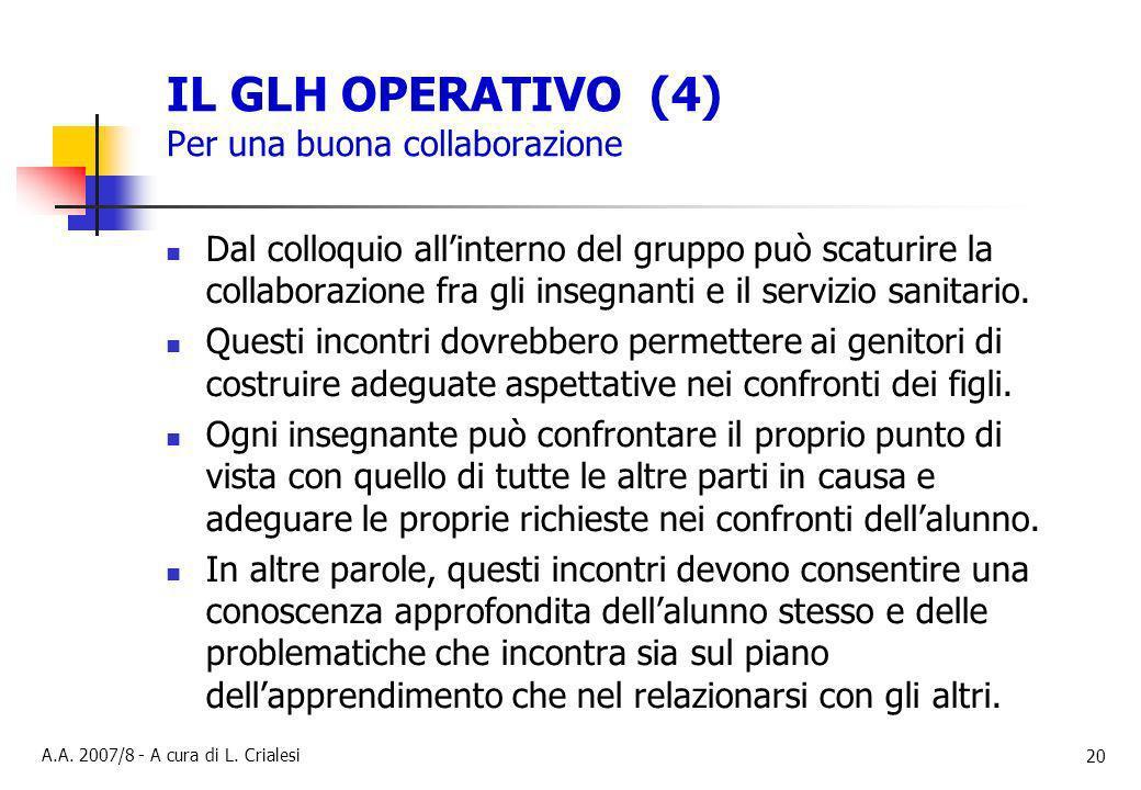 IL GLH OPERATIVO (4) Per una buona collaborazione