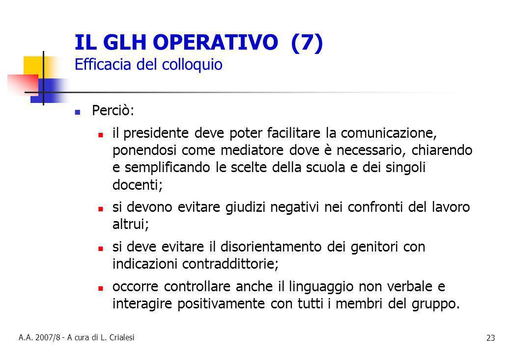 IL GLH OPERATIVO (7) Efficacia del colloquio