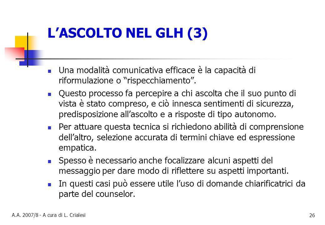 L'ASCOLTO NEL GLH (3) Una modalità comunicativa efficace è la capacità di riformulazione o rispecchiamento .