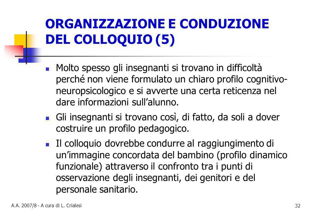 ORGANIZZAZIONE E CONDUZIONE DEL COLLOQUIO (5)