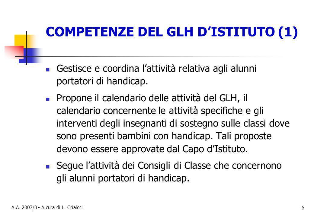 COMPETENZE DEL GLH D'ISTITUTO (1)