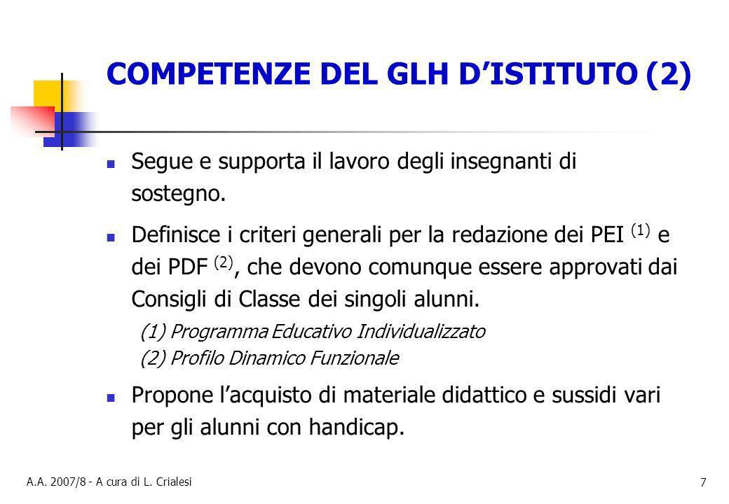 COMPETENZE DEL GLH D'ISTITUTO (2)