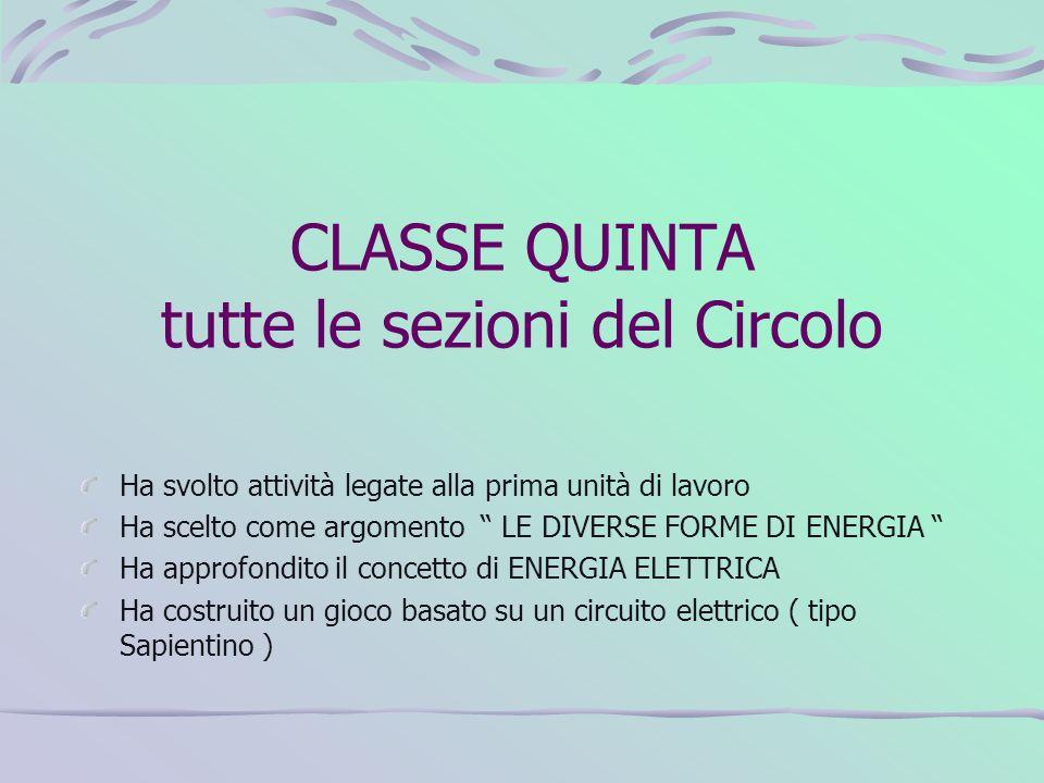 CLASSE QUINTA tutte le sezioni del Circolo