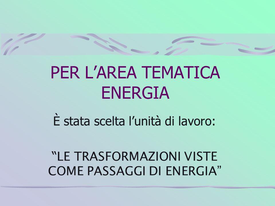 PER L'AREA TEMATICA ENERGIA