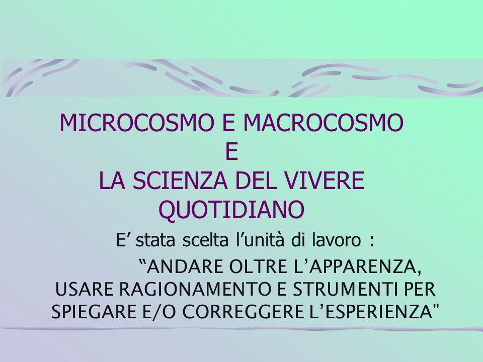 MICROCOSMO E MACROCOSMO E LA SCIENZA DEL VIVERE QUOTIDIANO