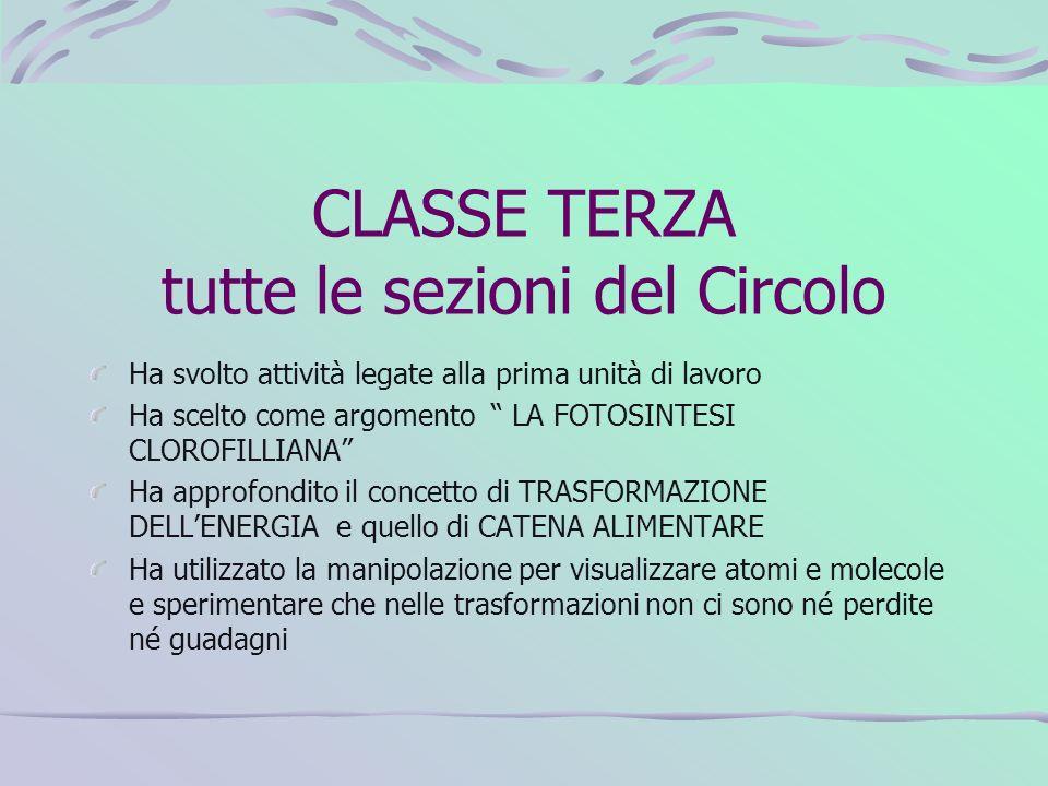 CLASSE TERZA tutte le sezioni del Circolo