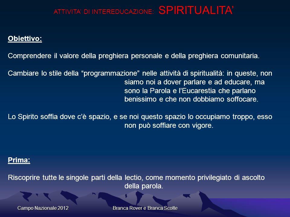 ATTIVITA' DI INTEREDUCAZIONE: SPIRITUALITA'